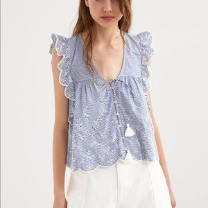 Zara Blue Striped Ruffle Eyelet Embroidered Top.